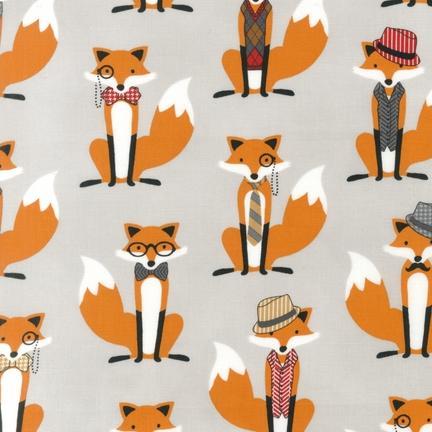 Robert kaufman fabrics ahe 14422 12 grey by andie hanna for Fox print fabric