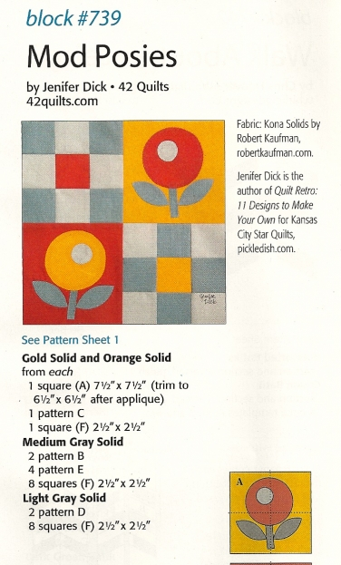Mod Posies quilt block by Jenifer Dick