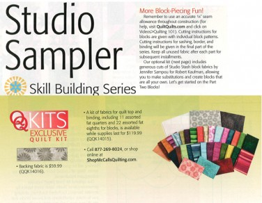 Optional Quilt Kit-Studio Stash by Jennifer Sampou