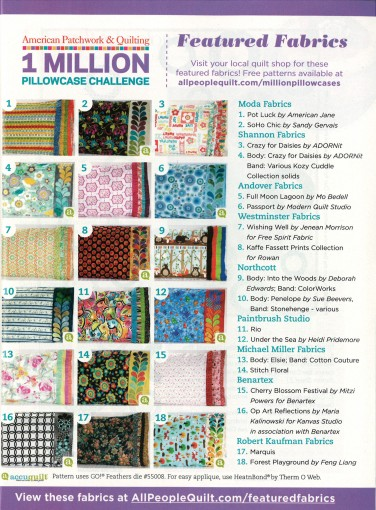 American Patchwork & Quilting 1 Million Pillowcase Challenge, Featured Fabrics
