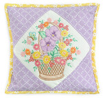 Fabric Baskets of Blooms Pillow