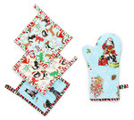 Fabric Pot Holder and Oven Mitt Set
