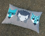 Pattern Fox and Hedgehog Pillow
