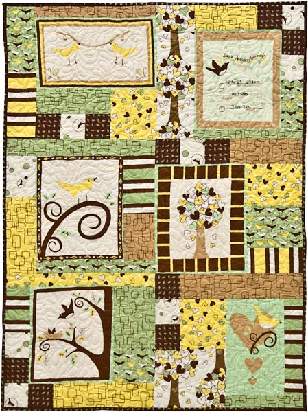 Chirp! Panel Quilt Free Pattern: Robert Kaufman Fabric Company
