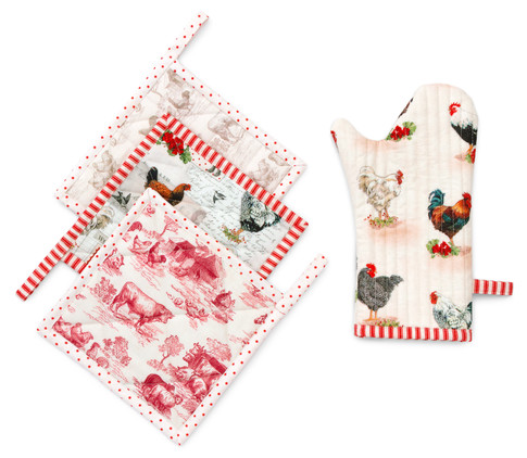 Pot Holder and Oven Mitt Set