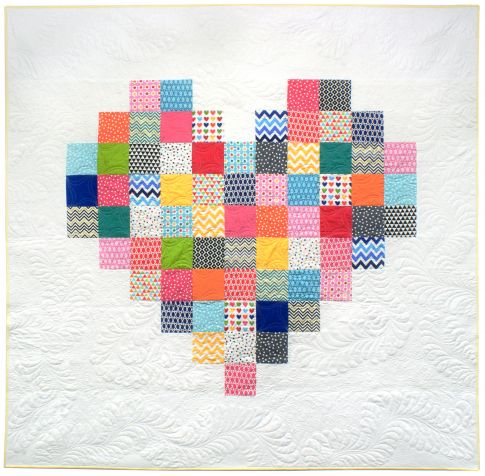 Quilt Patterns Heart Free : Pixelated heart Free Pattern: Robert Kaufman Fabric Company