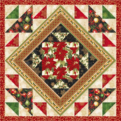 Framed Poinsettias Mini Free Pattern Robert Kaufman