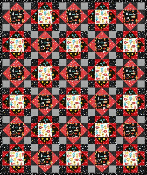 Space age free pattern robert kaufman fabric company for Space fabric quilt