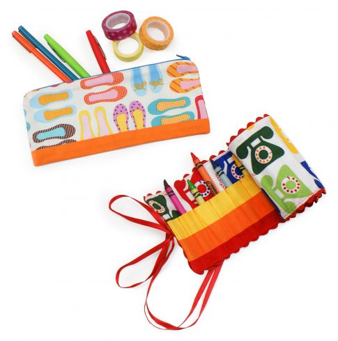 Crayon Roll, Pencil Case and Notebook