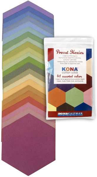 h0100101 Kona Cotton: Precut Hexies from Robert Kaufman