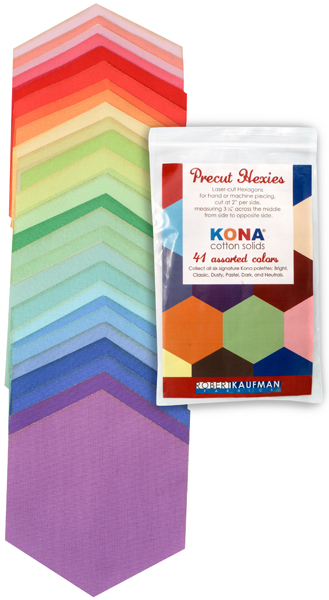 h0100102 Kona Cotton: Precut Hexies from Robert Kaufman