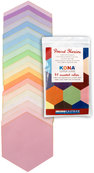 h0100103 Kona Cotton: Precut Hexies from Robert Kaufman