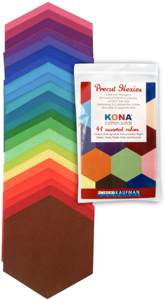h0100104 Kona Cotton: Precut Hexies from Robert Kaufman