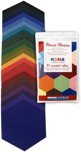 h0100105 Kona Cotton: Precut Hexies from Robert Kaufman