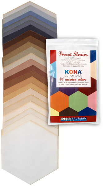 h0100106 Kona Cotton: Precut Hexies from Robert Kaufman